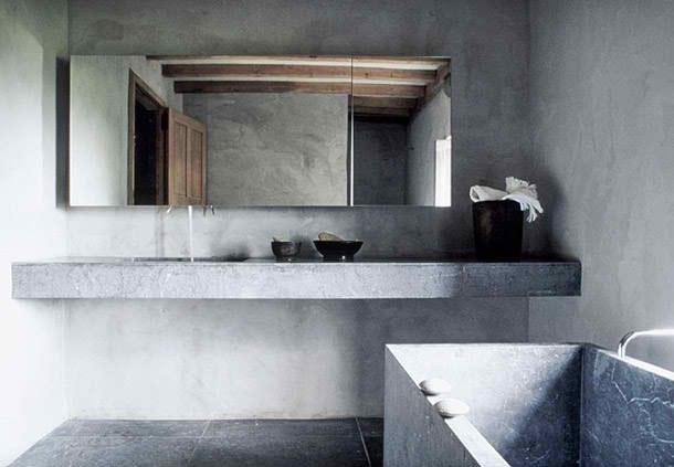 Modern minimalist concrete bathroom