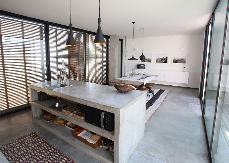 minimalist concrete kitchen